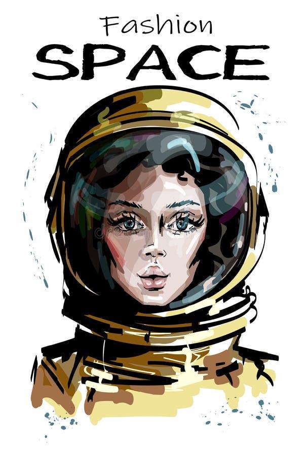 Hand dragen härlig utrymmekvinnastående Stilfull kvinnlig astronaut Utrymmekvinnatecken i spacesuit stock illustrationer
