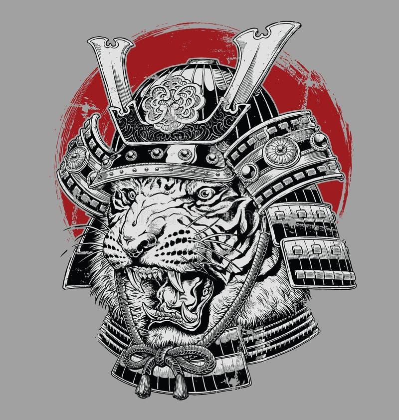 Hand dragen högt detaljerad japansk illustration för tigersamurajvektor på grå jordning vektor illustrationer