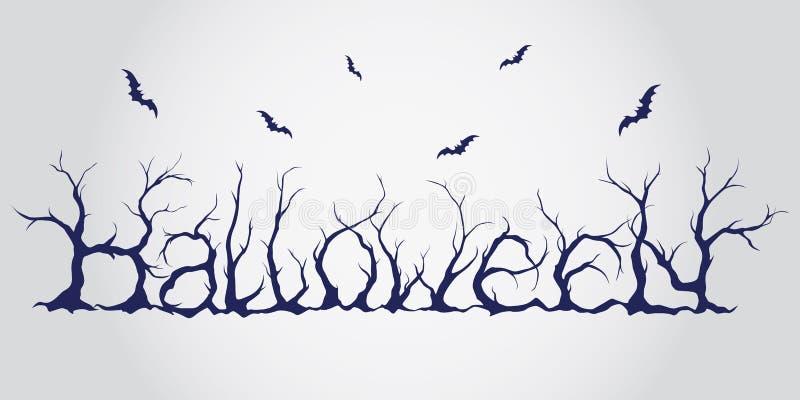 Hand dragen halloween bokstäver stock illustrationer