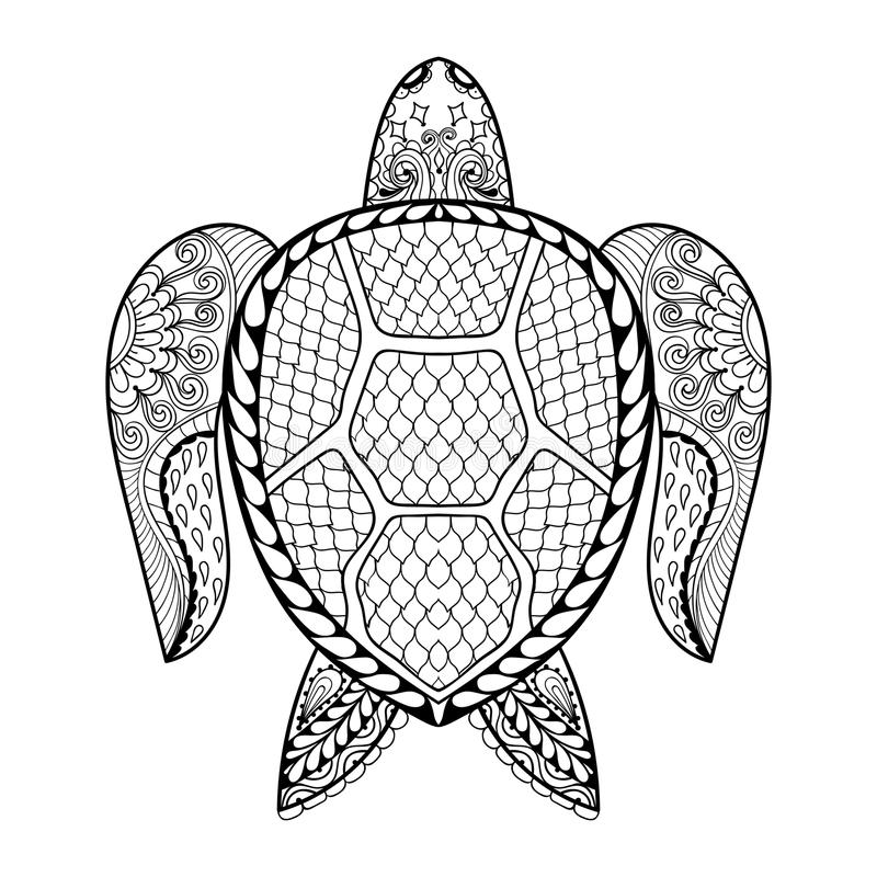 Hand dragen havssköldpadda för vuxna färgläggningsidor i klotter som är zentan stock illustrationer