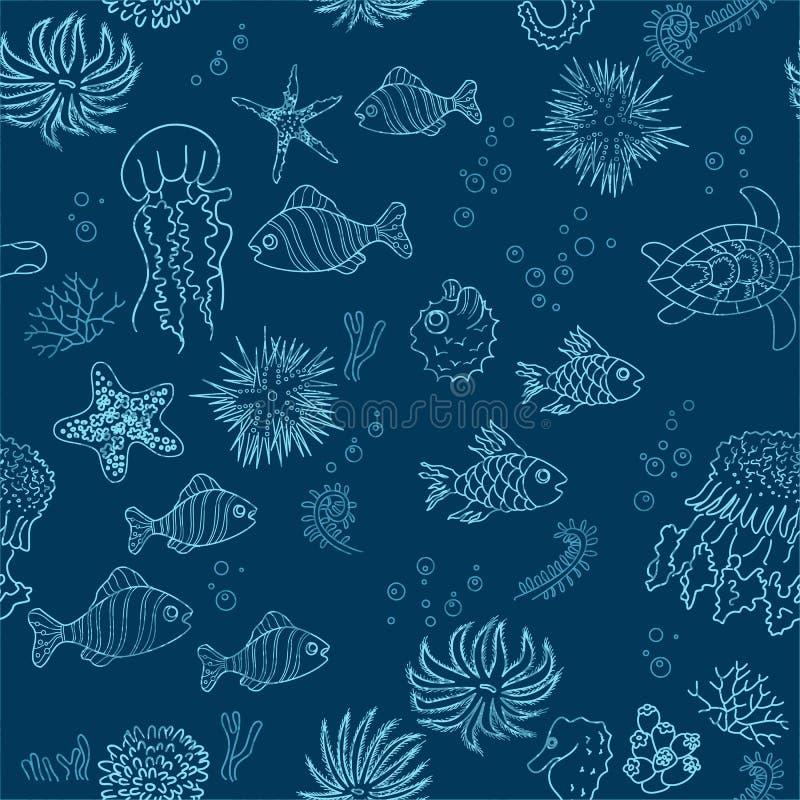 Hand dragen havstemabakgrund stock illustrationer