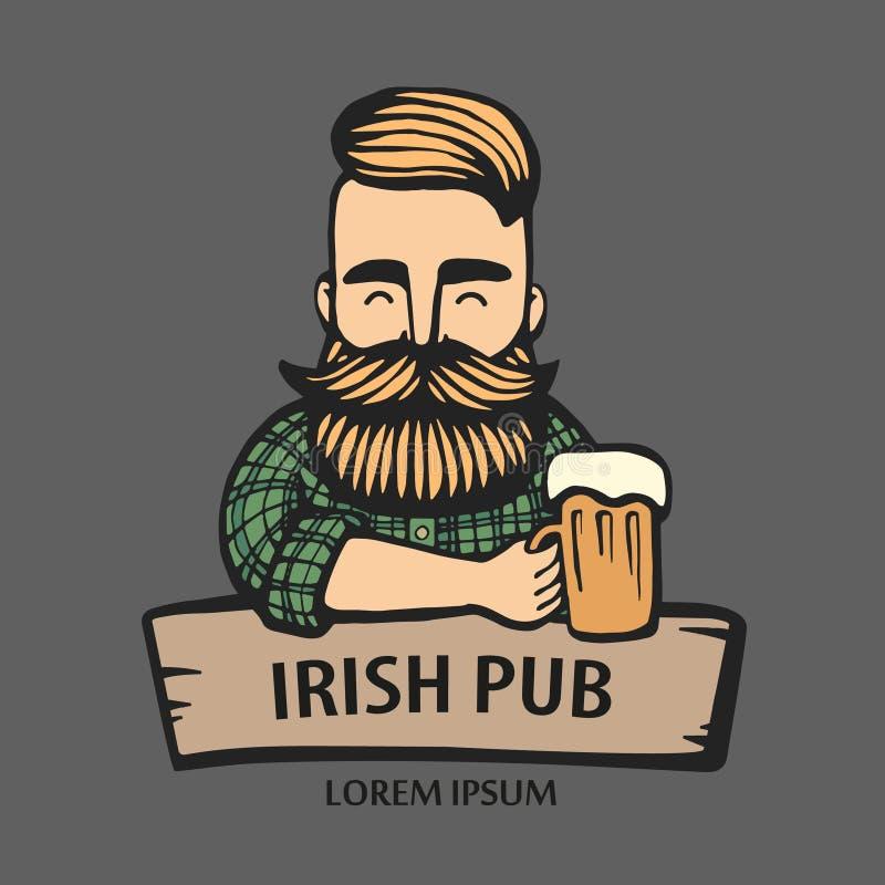 Hand-dragen hipsterkille med mustaschen, skägg med öl Man med exponeringsglas av alkohol rengöringsduk för jordklotlogovektor Kli vektor illustrationer