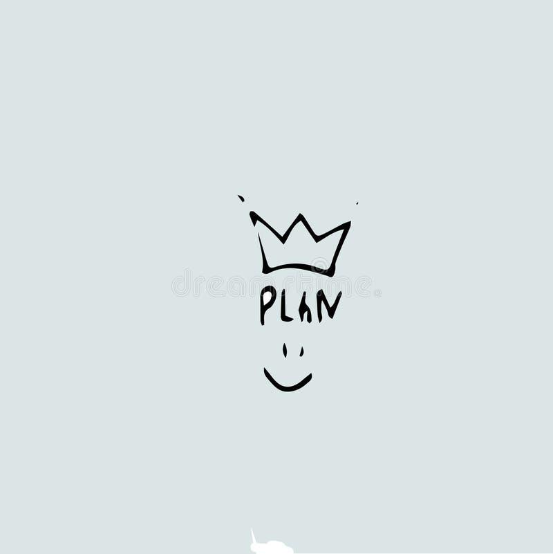 Hand dragen idé - plan som är konung eller vinnare, härlighet stock illustrationer