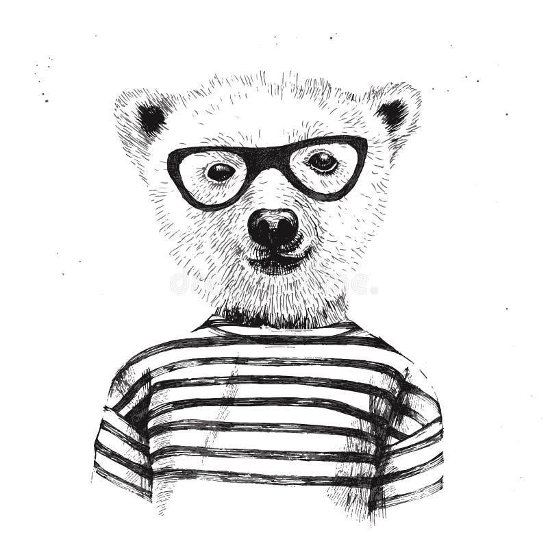 Hand dragen illustration av den utklädda hipsterbjörnen royaltyfri illustrationer