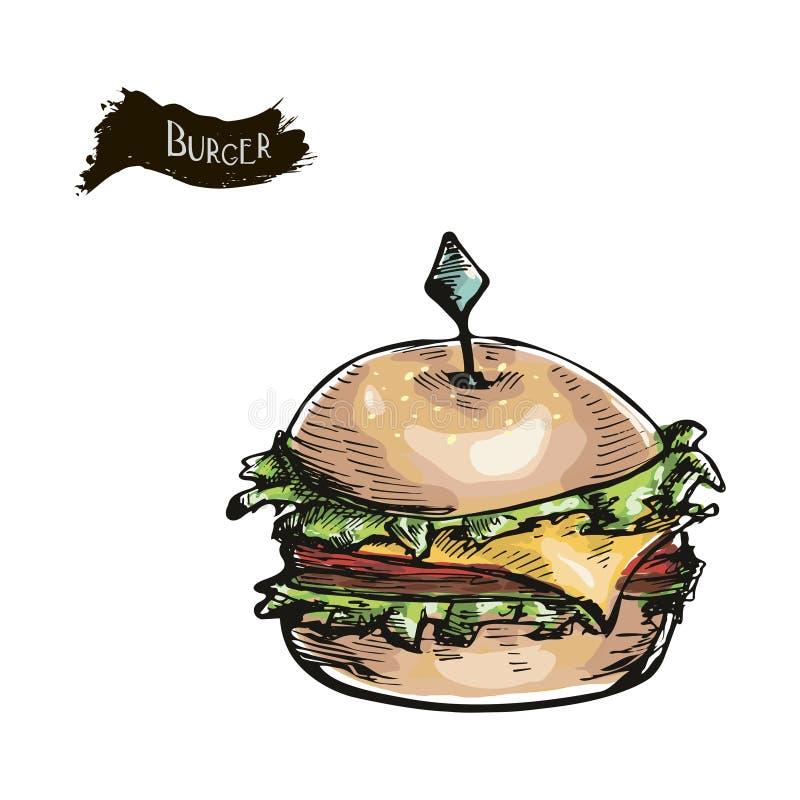 Hand dragen illustration av hamburgaren royaltyfri illustrationer