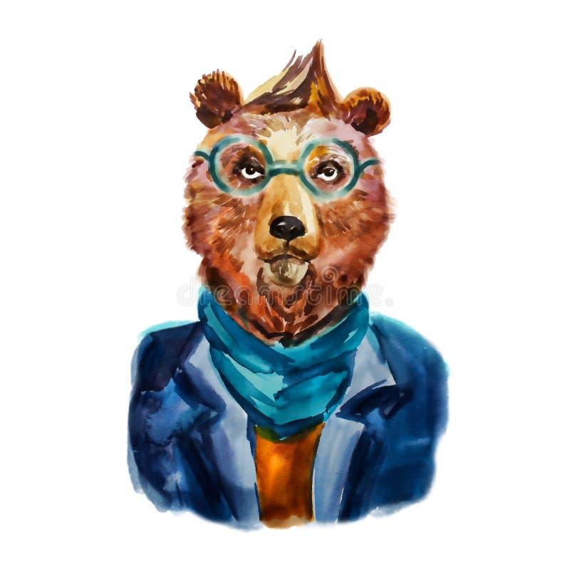 Hand dragen illustration av hipsterbjörnen i halsduk och exponeringsglas vektor illustrationer