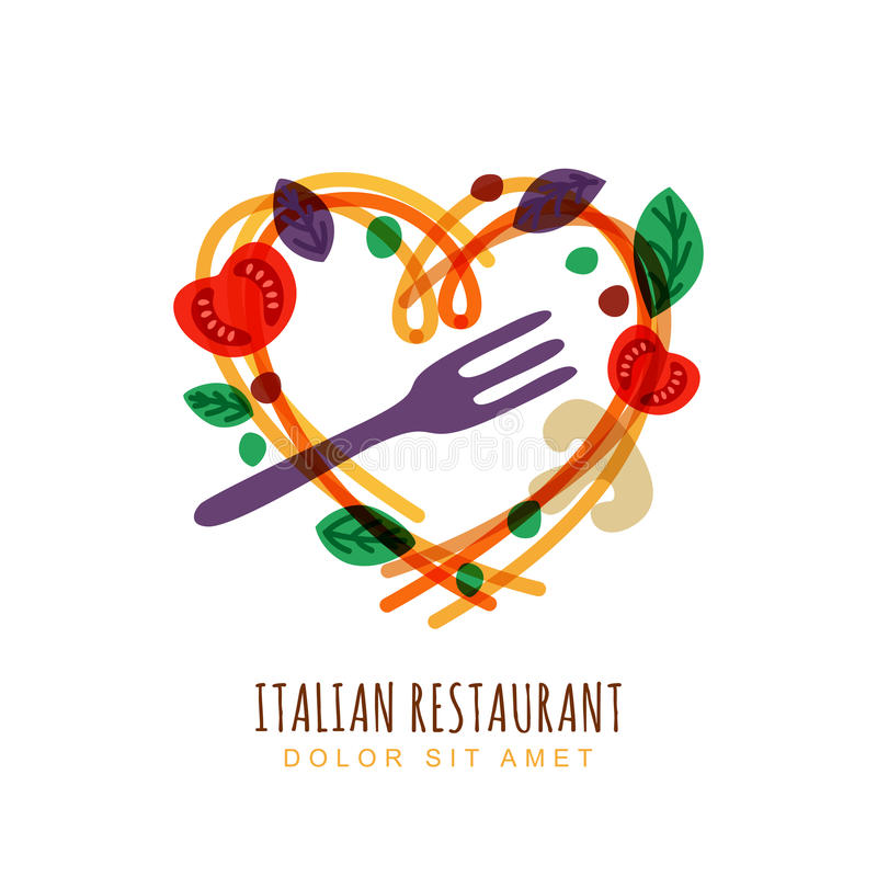 Hand dragen illustration av italiensk spagetti royaltyfri illustrationer