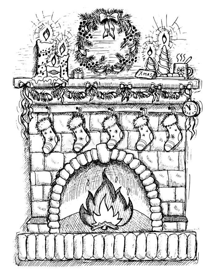 Hand dragen illustration av julbrandstället vektor illustrationer