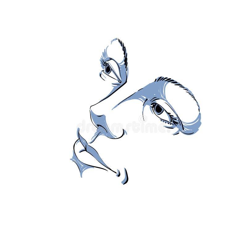 Hand-dragen illustration av kvinnaframsidan, svartvit maskering med sinnesrörelser Särdrag av den härliga flickan stock illustrationer