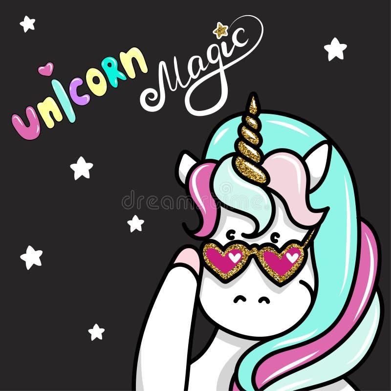 Hand dragen illustration av magiska enhörningar Unicorn Magic text Kan användas för hälsa, födelsedag- och inbjudankort royaltyfri illustrationer