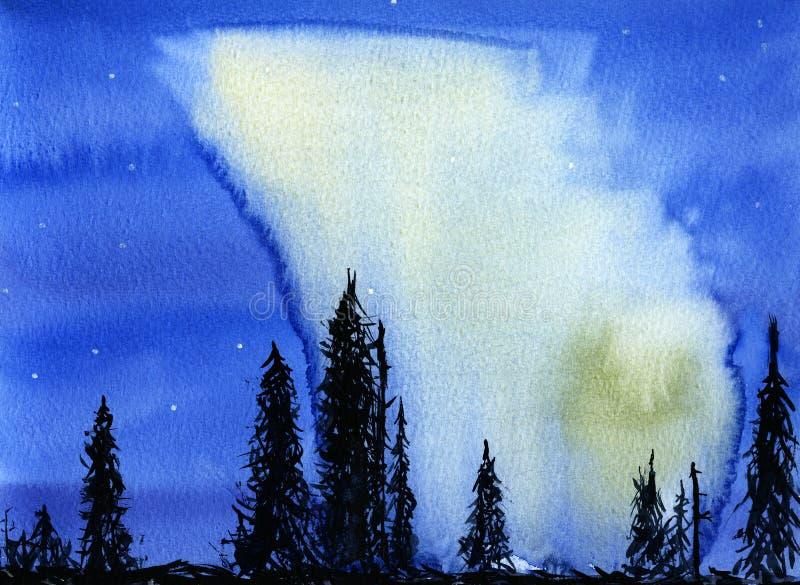 Hand dragen illustration av nattsikten med nordliga ljus vektor illustrationer