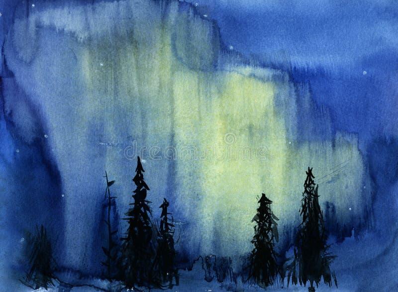 Hand dragen illustration av nattsikten med nordliga ljus stock illustrationer
