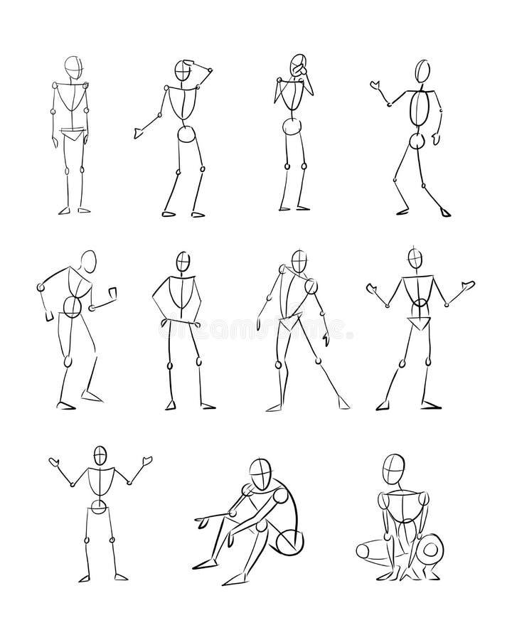 Hand dragen illustration av olika människokropppositioner royaltyfri illustrationer