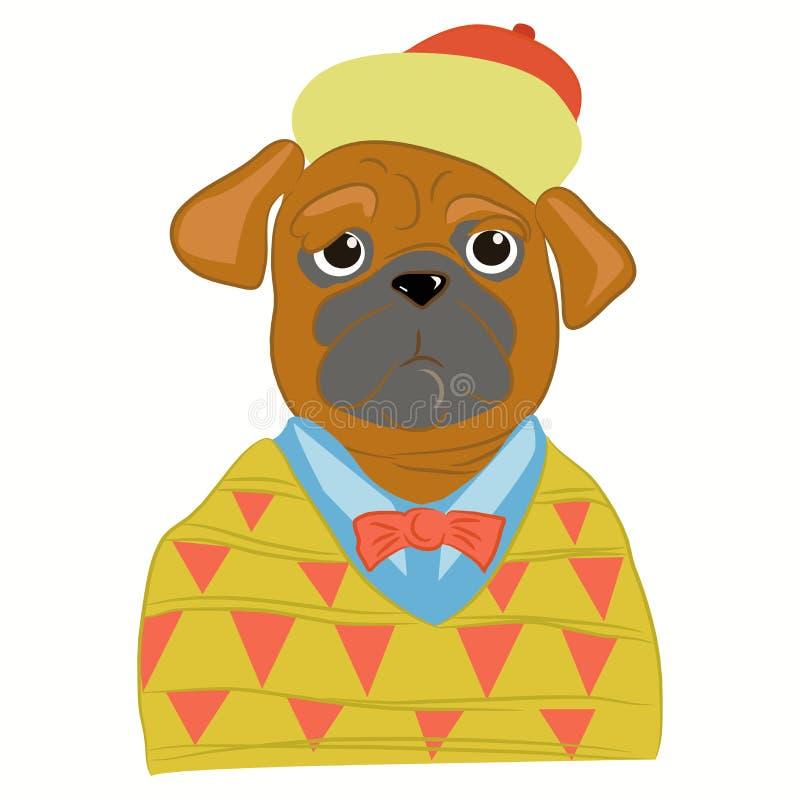 Hand dragen illustration av uppklädden för mopshundman in i kall kläder Valphipster Tidskriftmodeblick vektor stock illustrationer