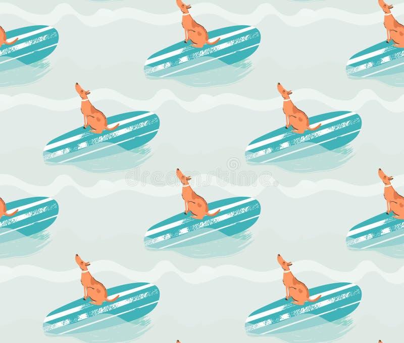 Hand dragen illustration för modell för tid för vektorabstrakt begreppsommar rolig sömlös med att surfa hunden på surfingbrädan p stock illustrationer