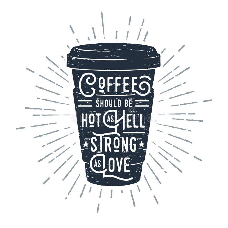 Hand dragen illustration för vektor för kaffekopp texturerad stock illustrationer