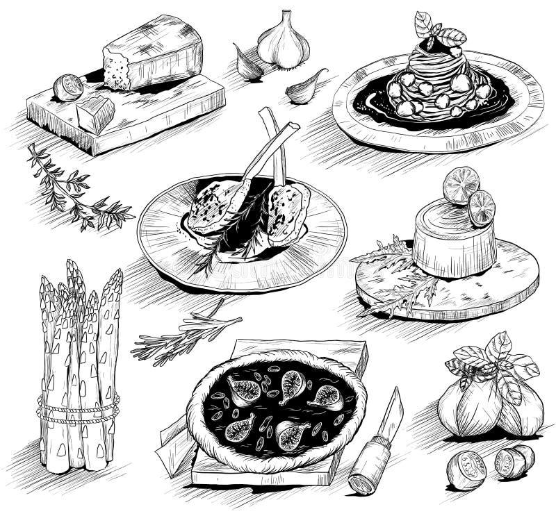 Hand dragen illustration med italiensk mat vektor illustrationer
