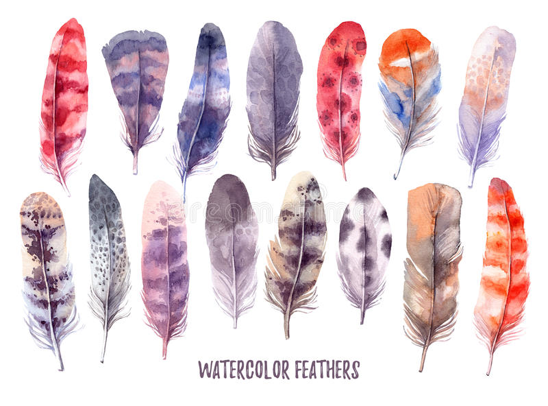 Hand dragen illustration - vattenfärgen befjädrar samlingen Aquare stock illustrationer