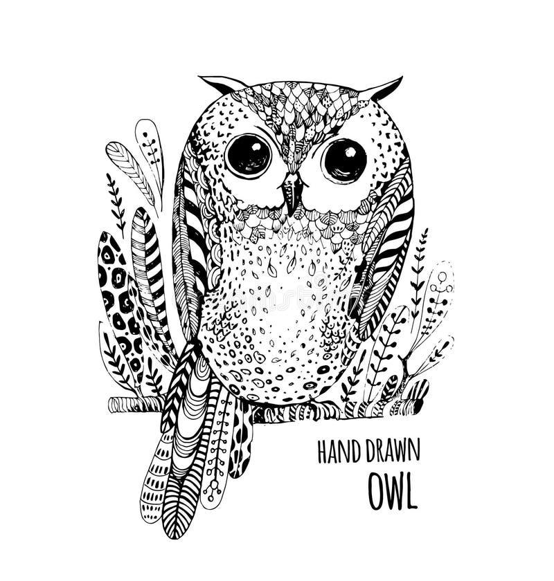 Hand dragen illustrationfågel Art Coloring bokuggla vektor illustrationer