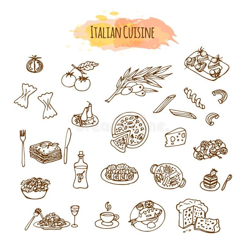 Hand dragen italiensk kokkonst Matmenydesign stock illustrationer