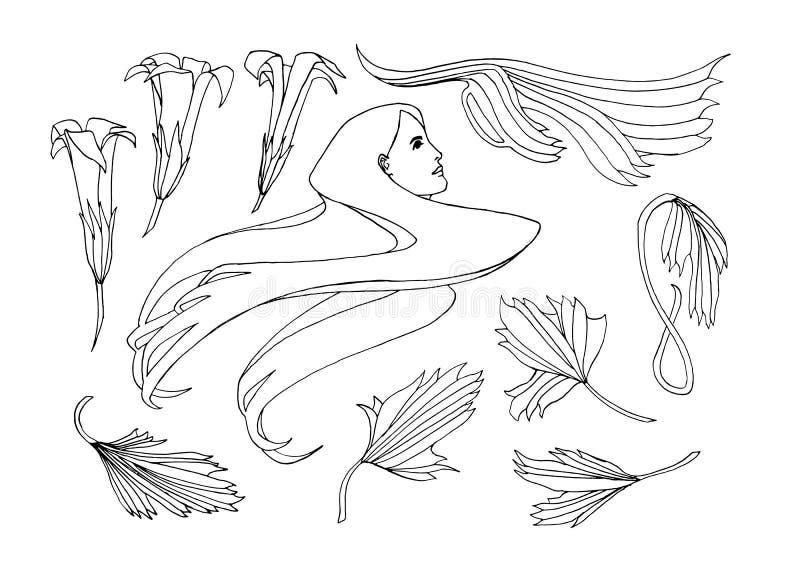 Hand dragen jugendstilstiluppsättning Vektorklotterillustrationen med blommor, sidor och en flicka` s head Svarta översiktsbestån royaltyfri illustrationer