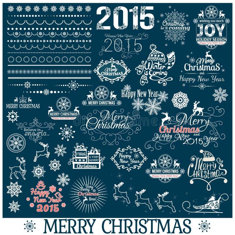 Hand dragen jul och garneringuppsättning för nytt år royaltyfri illustrationer