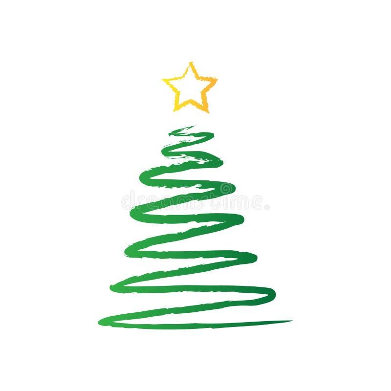 Hand dragen julgran med stjärnan vektor illustrationer