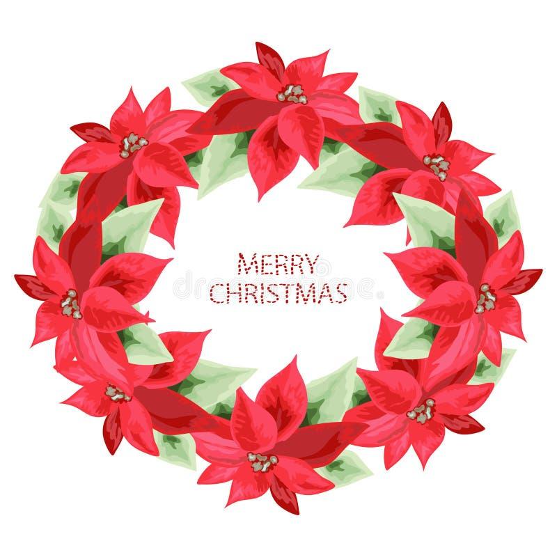 Hand dragen julstjärnaram vektor illustrationer