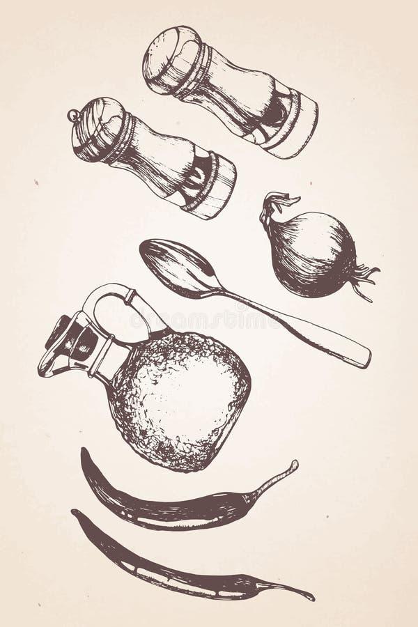 Hand-dragen kökuppsättning stock illustrationer