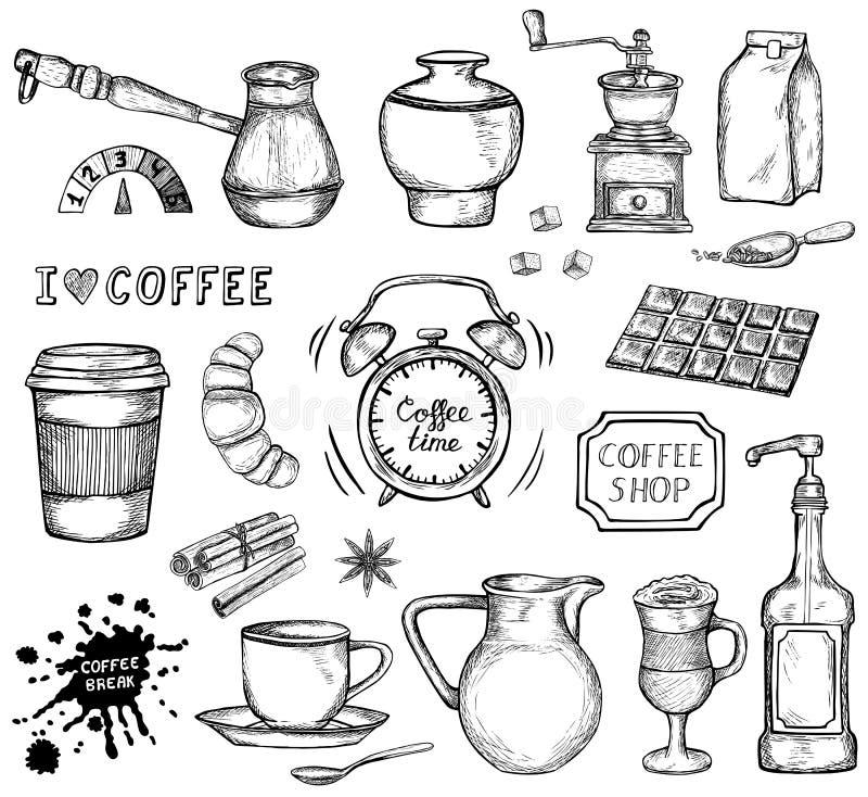 Hand dragen kaffesymbolsuppsättning vektor illustrationer