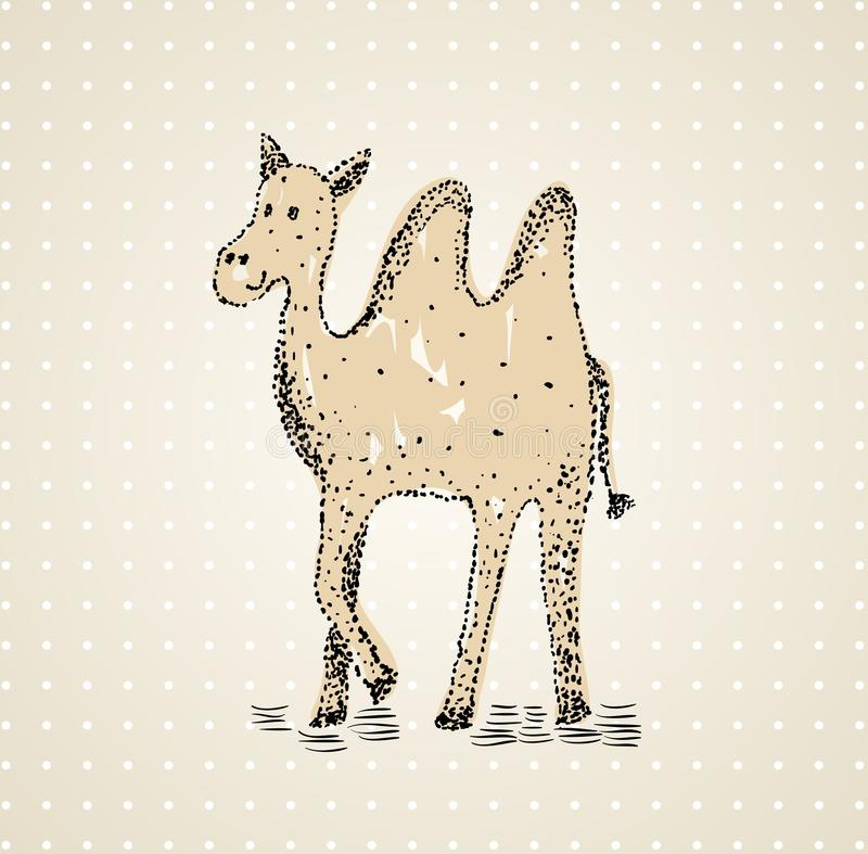 Hand dragen kamel stock illustrationer