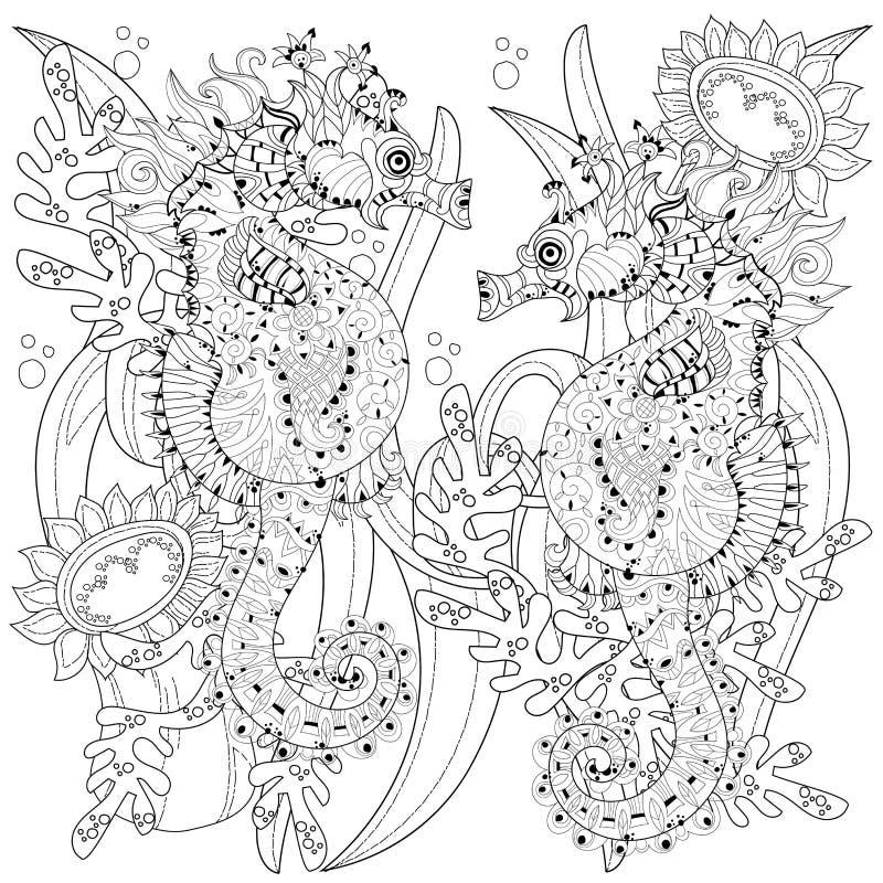 Hand dragen klotteröversiktsseahorse royaltyfri illustrationer