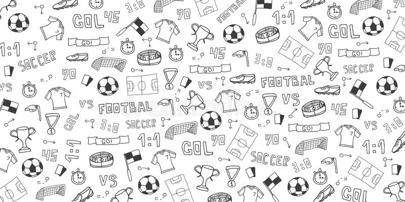 Hand dragen klotterfotboll- eller fotbollbakgrund element också vektor för coreldrawillustration royaltyfri illustrationer
