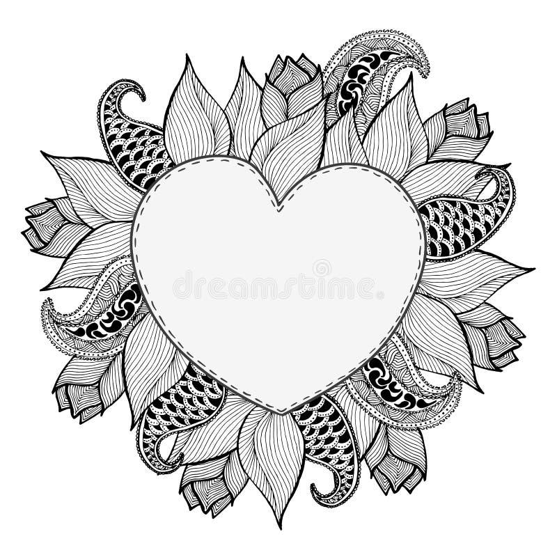 Hand dragen klotterhjärtaram från blommor Tappningbokstäverbakgrund all illustration för mappen för element för cmykfärgdagen red royaltyfri illustrationer