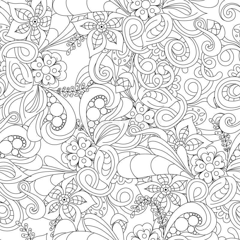 Hand dragen klottermodell i vektor Zentangle bakgrund abstrakt seamless textur Etnisk klotterdesign med hennaprydnaden vektor illustrationer