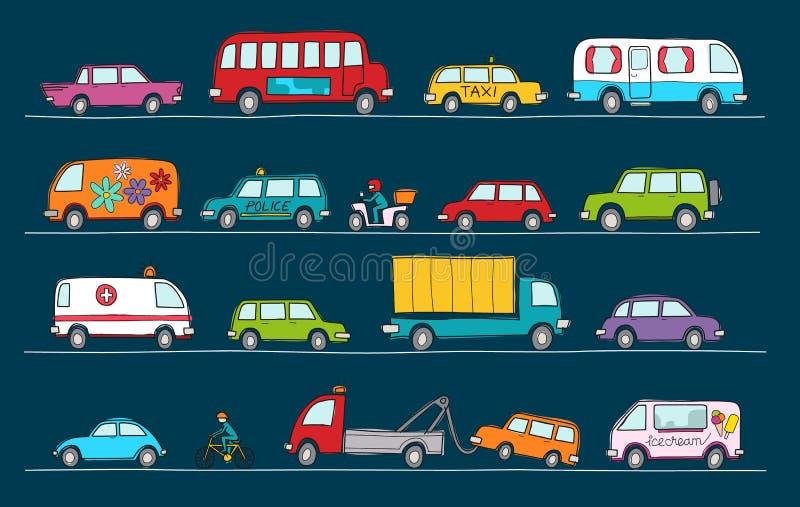 Hand dragen klottertecknad filmsamling av färgrika bilar och transp stock illustrationer