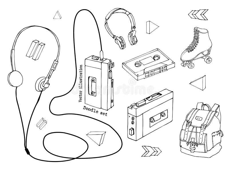 Hand dragen klotteruppsättning av tonåriga beståndsdelar som isoleras på vit bakgrund Retro ljudsignal spelare, kassett, hörlurar stock illustrationer
