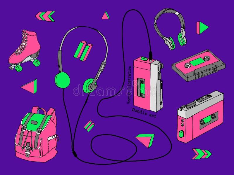 Hand dragen klotteruppsättning av tonåriga isolerade beståndsdelar i 90-talstil Retro ljudsignal spelare, kassett, hörlurar, rull vektor illustrationer