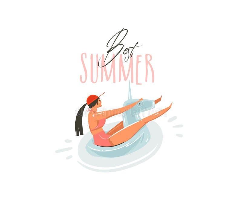 Hand dragen konst för illustrationer för tid för sommar för vektorabstrakt begrepptecknad film grafisk med skönhetflickan på simn royaltyfri illustrationer