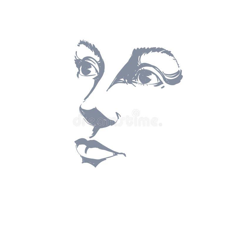 Hand-dragen konststående av vit-hud den romantiska kvinnan, kontur vektor illustrationer