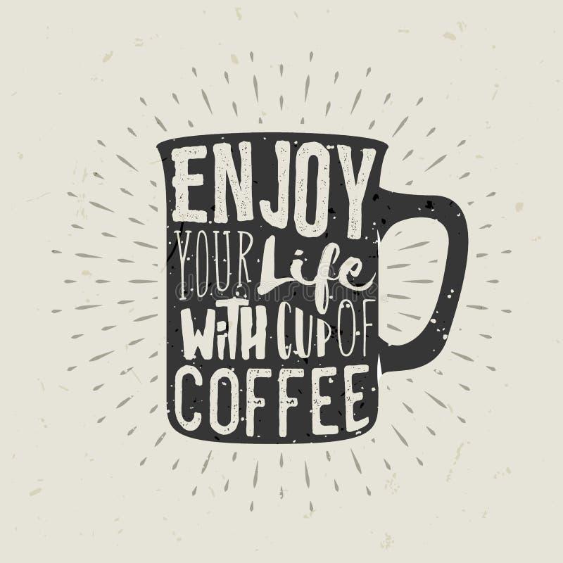 Hand-dragen konturkopp kaffe med bokstäver vektor illustrationer