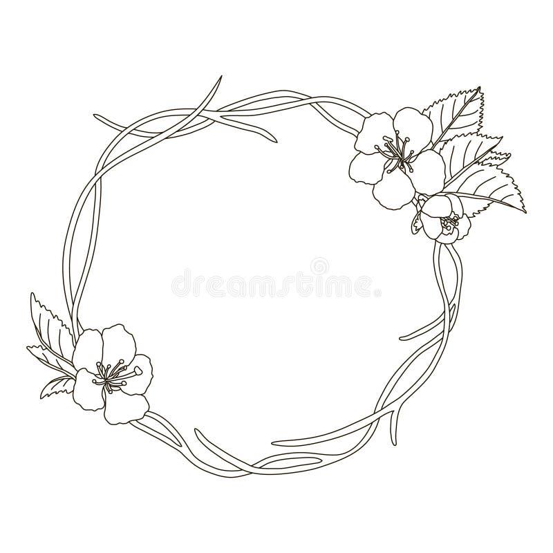 hand dragen krans med den körsbärsröda blomningen på filialrundaram vektor illustrationer