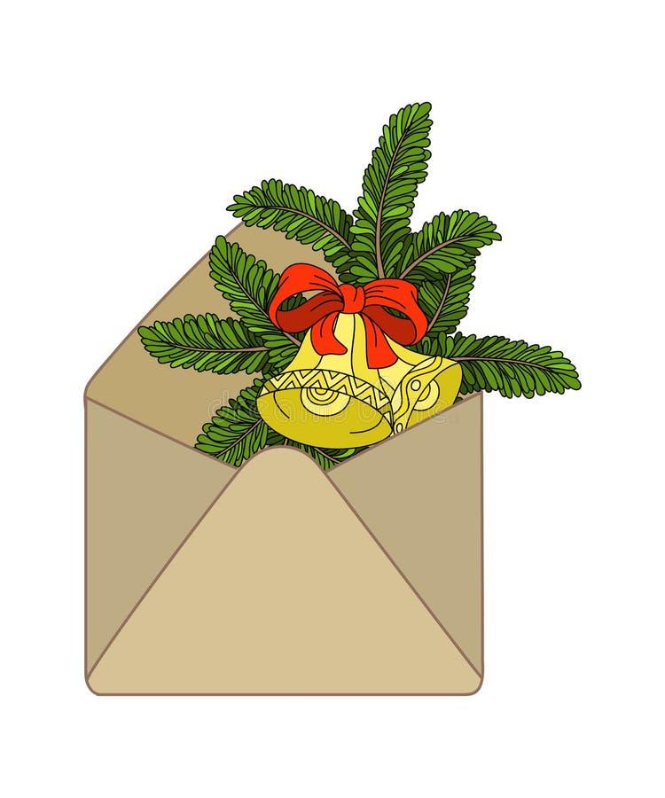 hand-dragen kulör kraft kuvert och granfilial med julklockor stock illustrationer