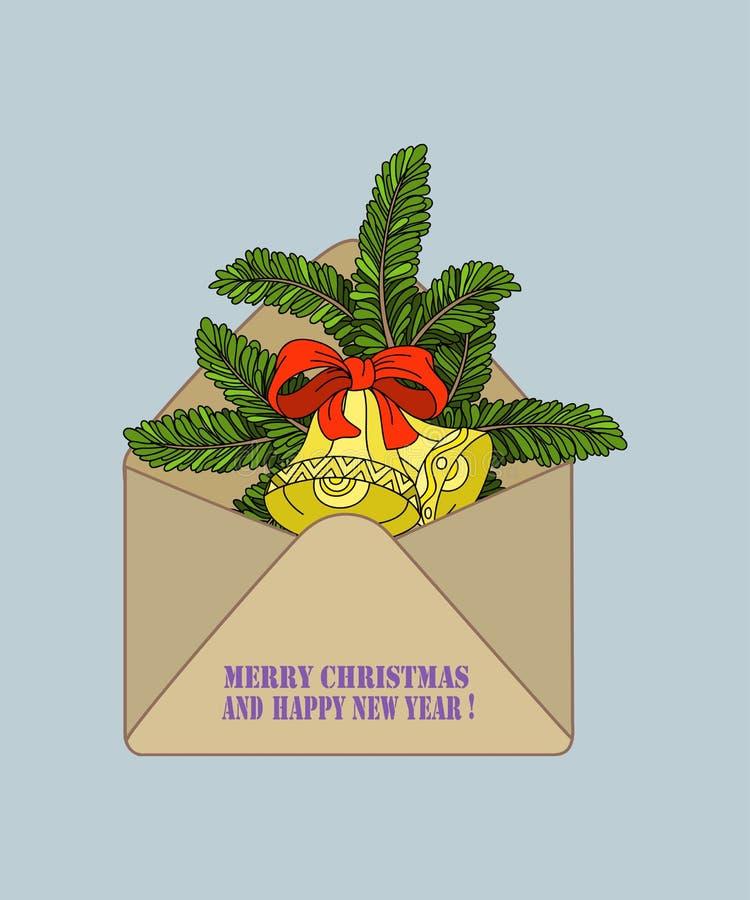 hand-dragen kulör kraft kuvert och granfilial med julklockor royaltyfri illustrationer