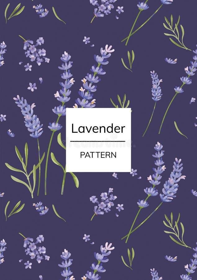 Hand dragen lavendelblommamodell stock illustrationer