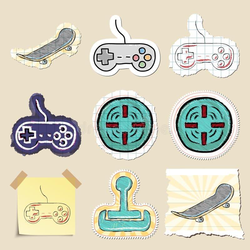 Hand dragen lekar och avkopplingemblemuppsättning stock illustrationer