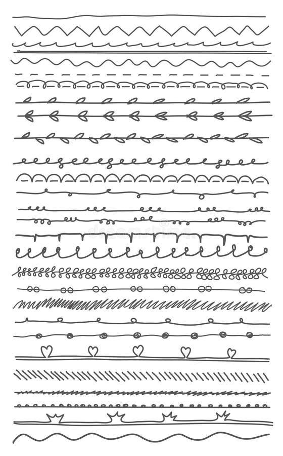 Hand-dragen linje beståndsdelar vektor illustrationer