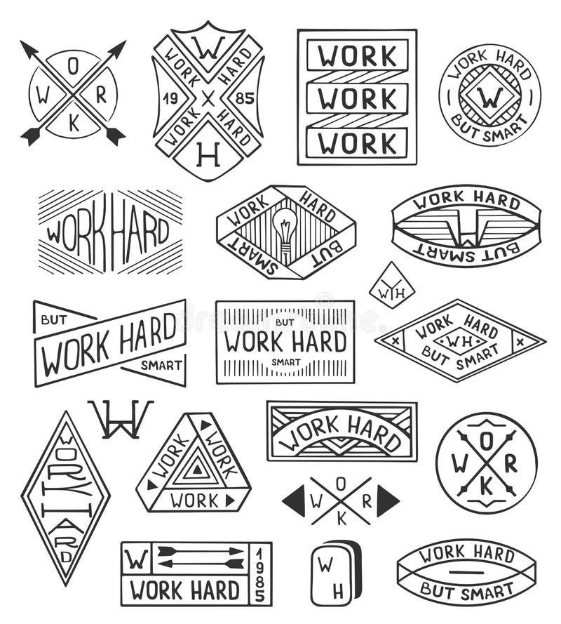 Hand dragen logouppsättning Moderna tappninglogomallar arbetar hårt Beståndsdelar för gammal stil, etiketter med bokstäver Uppsät vektor illustrationer