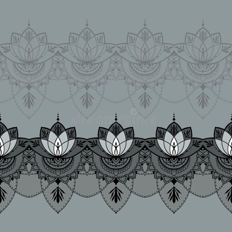 Hand-dragen lotusblomma i östlig stil royaltyfri illustrationer