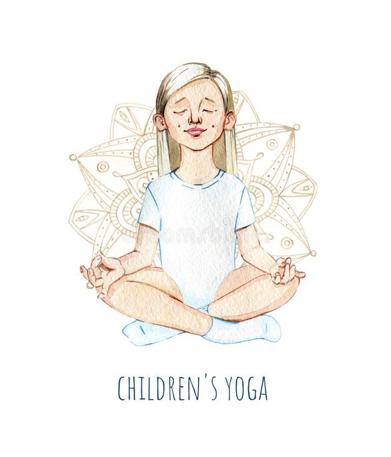 Hand-dragen lycklig flicka för vattenfärg som gör barns yoga royaltyfri illustrationer